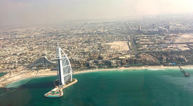 Dubai, aerial view, Burj Al Arab