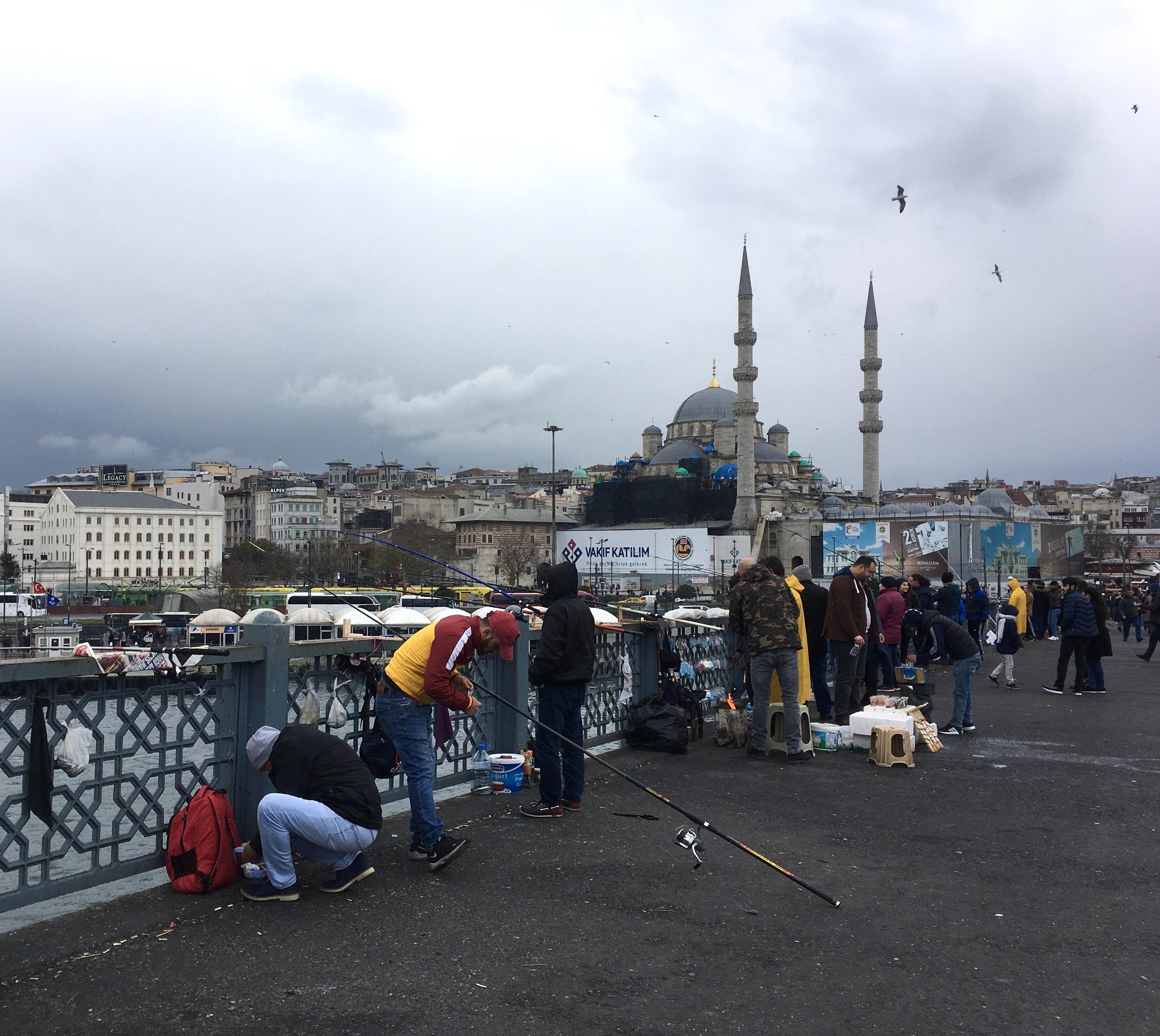 Galata Bridge, Istanbul, fishermen